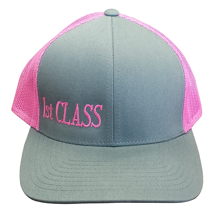 1st CLASS Trucker Hat, Pink & Gray,  Adjustable