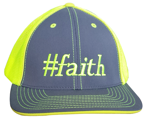 #faith Trucker Hat, Yellow & Gray, Fitted