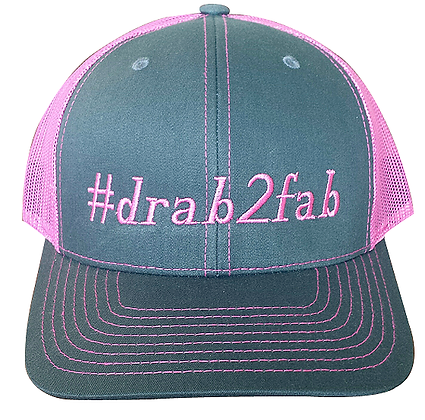 #drab2fab Trucker Hat, Pink & Gray, Adjustable