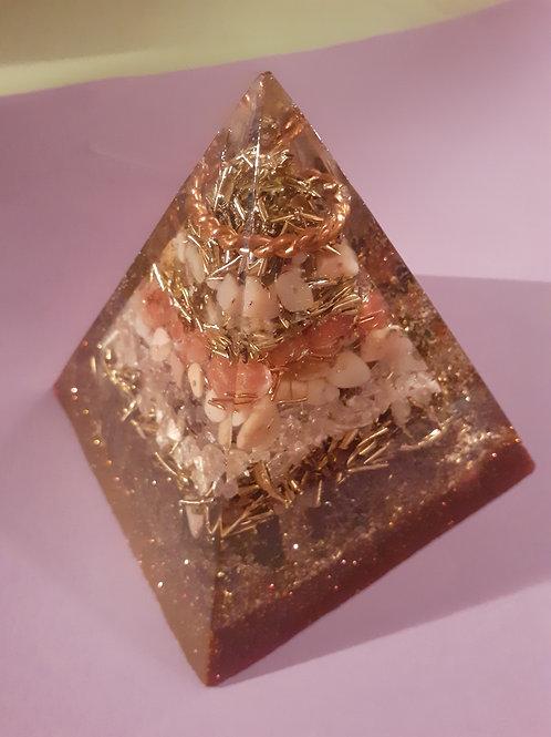Peruvian Opal / Shungite 1/8 Tensor Orgonite Pyramid