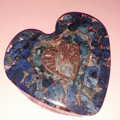 Large Double Orgonite Lapis Lazuli Heart