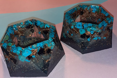 Set of two African Turquoise handcrafted Orgonite Tea light holders