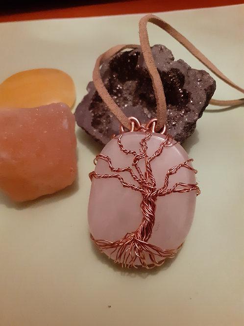 Tree of Life Rose Quartz palm stone pendant