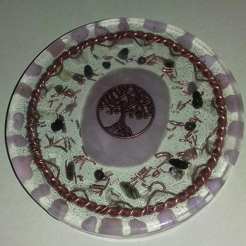 TREE OF LIFE ROSE QUARTZ & TOURMALINE COASTER