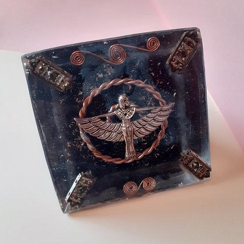Egyptian ISIS Blue Goldstone, Quartz & Shungite EMF Tensor Orgonite Pyramid