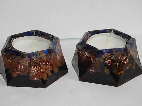Set of two handcrafted Orgonite Tea light holders