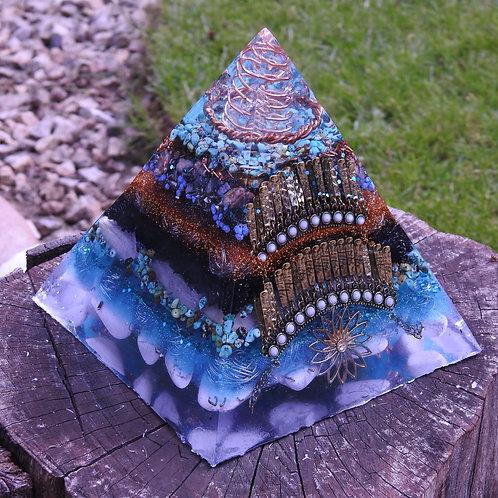 Turquoise, Shungite & Selenite Egyptian  EMF Defence Orgonite Energy Pyramid