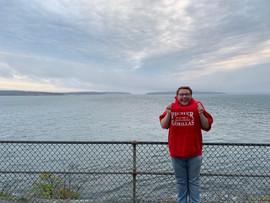 Quentin repping the Picher Gorillas in Bass Harbor