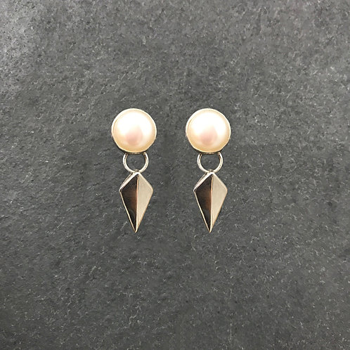 Blade Post Earrings with Pearls