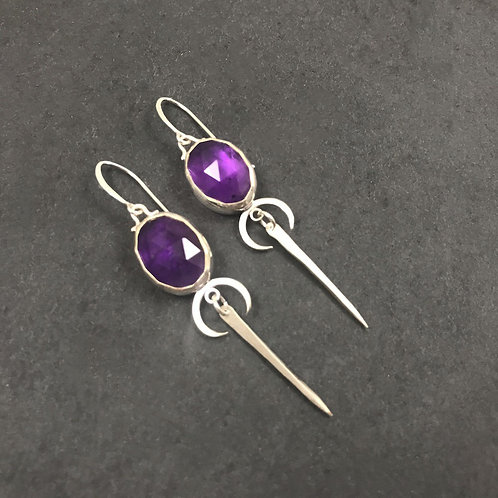 Sora Earrings with Amethyst