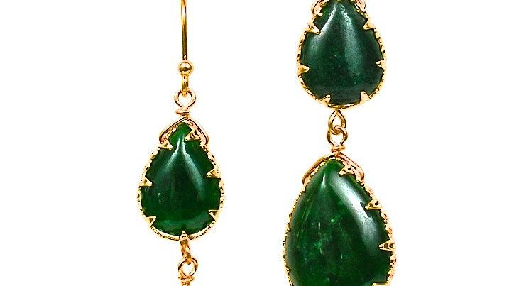 Small Emerald Double Drop Earrings