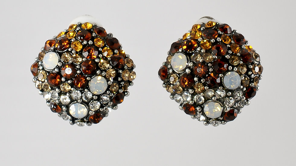 Amber Jeweled Clip-on Earrings