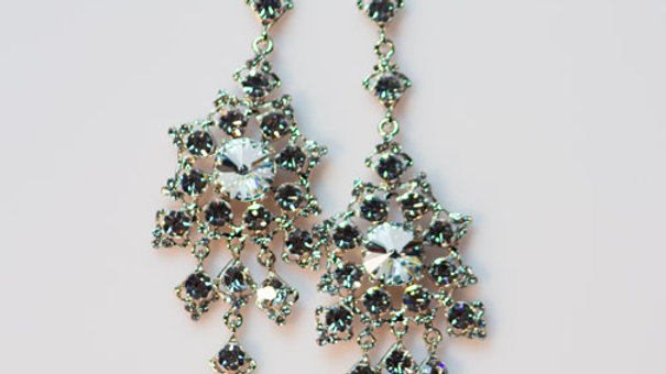 Crystal with Silver Chandelier Earring