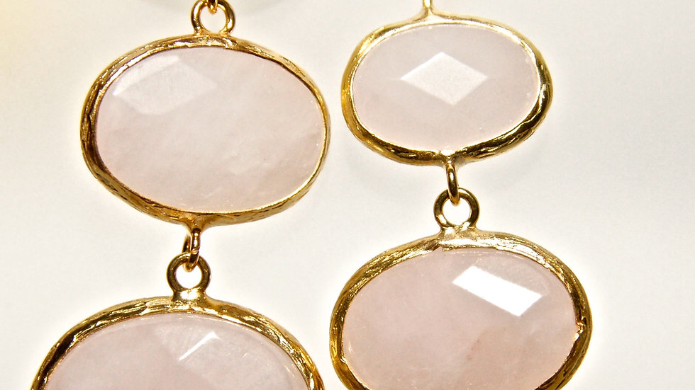 Rose Quartz 3 Drop Earrings