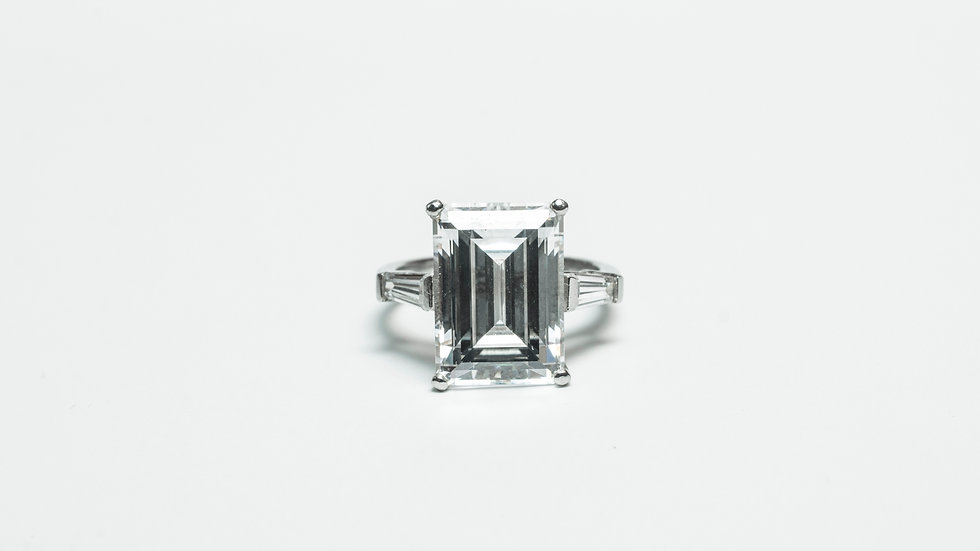 Emerald Cut CZ Ring front