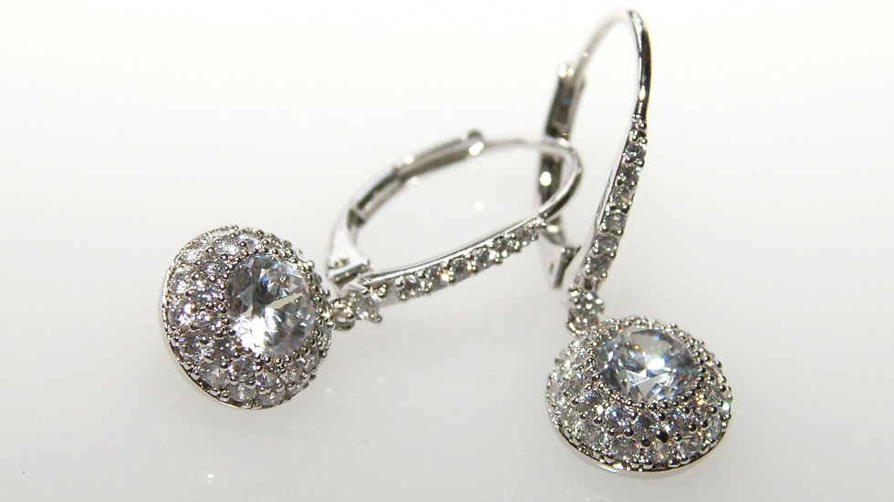 Micropave Solitaire Drop Earrings