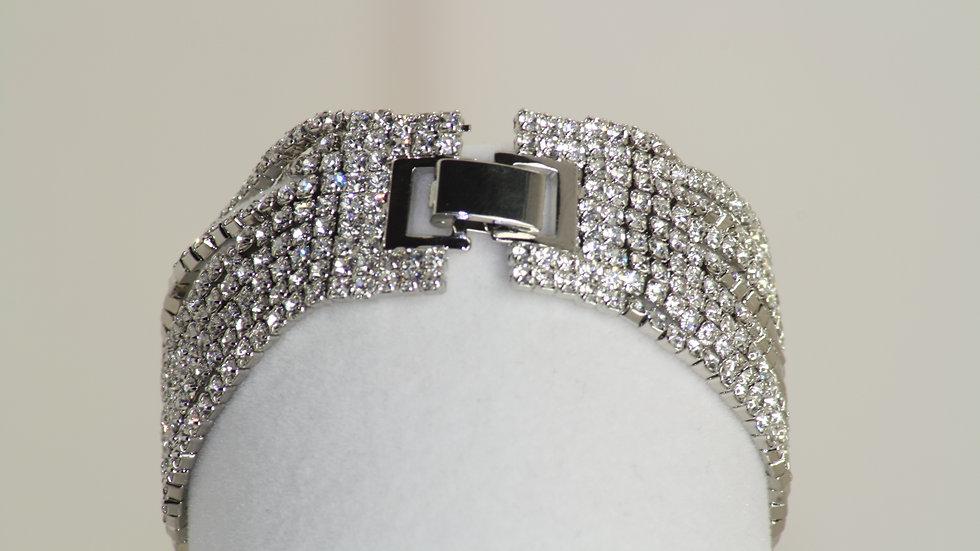 Fine 9 Row Diamonesque Bracelet White clasp