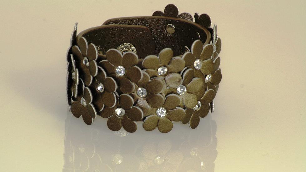 Pewter Leather Flower Bracelet