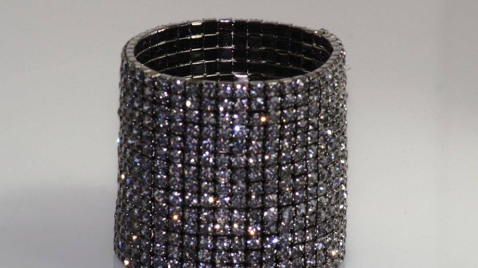 Wide Crystal Stretch Bracelet Black