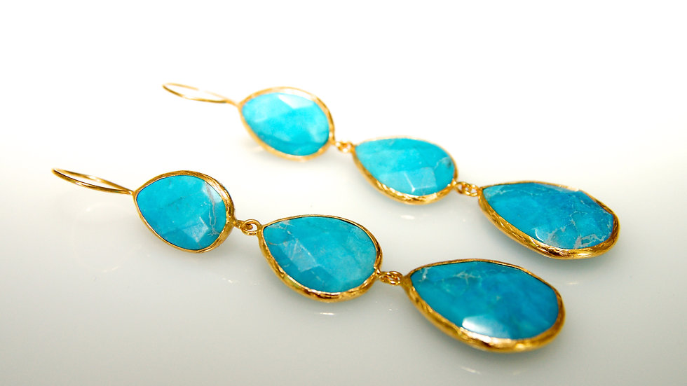 Turquoise 3 Drop Earrings side