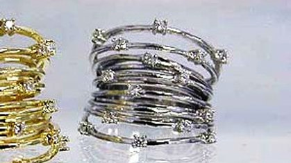 Sterling Silver Multi Band Ring With Diamonesque Detail