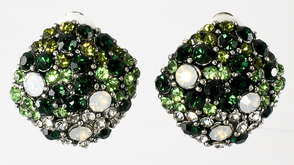 Green Jeweled Clip-on Earrings
