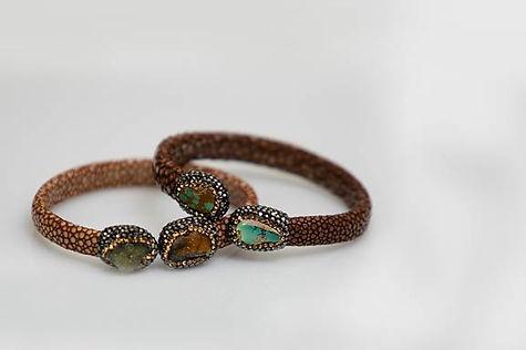 Leather & Druzy Stone Bracelet