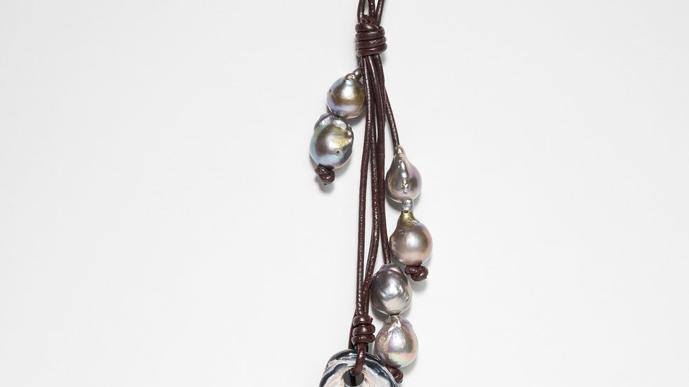Silver South Sea Pearls and Agate on Leather Necklace 1