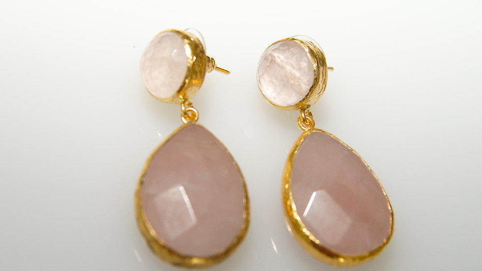 Rose Quartz Earrings with Post
