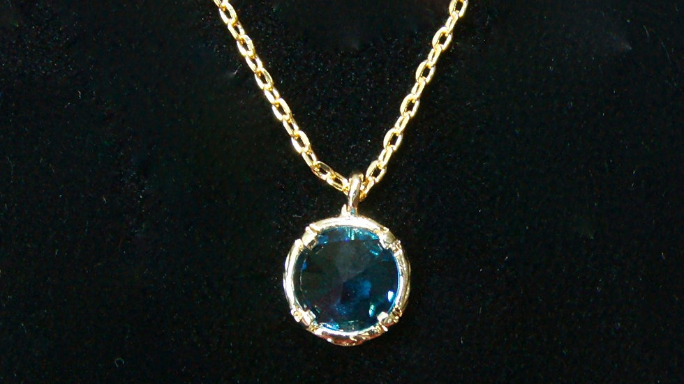 Blue Pendant on Gold Chain zoom