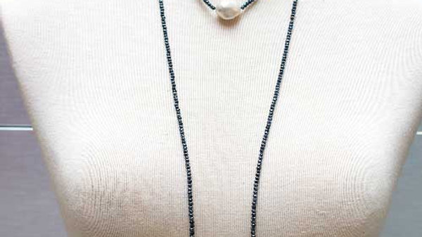 3 White Pearl Beaded Lariat