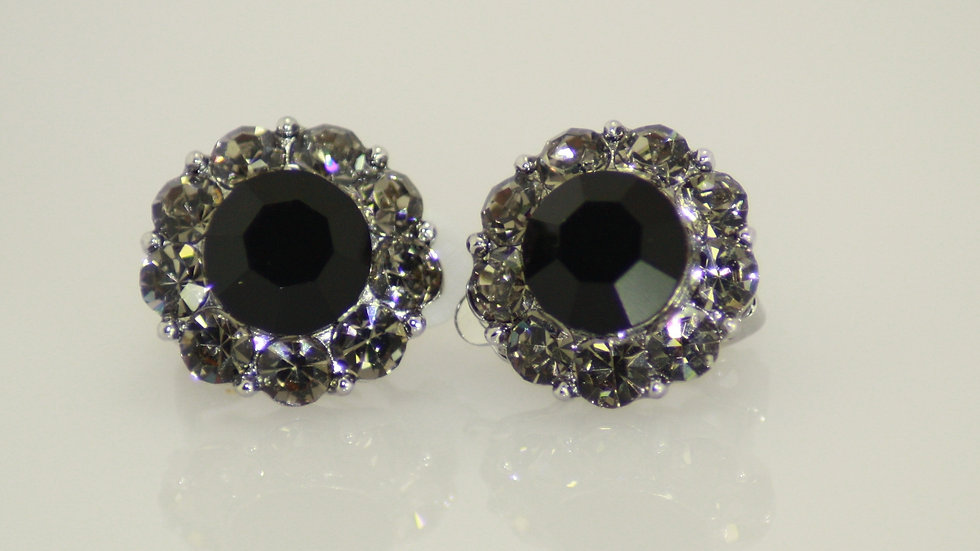 Button Style Black Clip-on Earrings