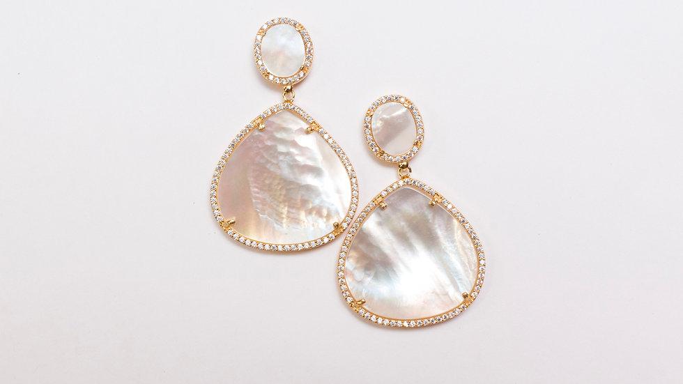 Mother of Pearl/Pave Drop Earrings pair