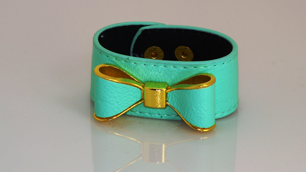 Leather Bow Bracelet 2 Snap Button Closure Turquoise