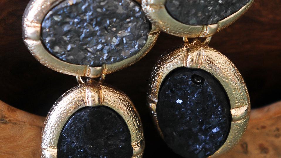 Black Hematite Druzy Earrings