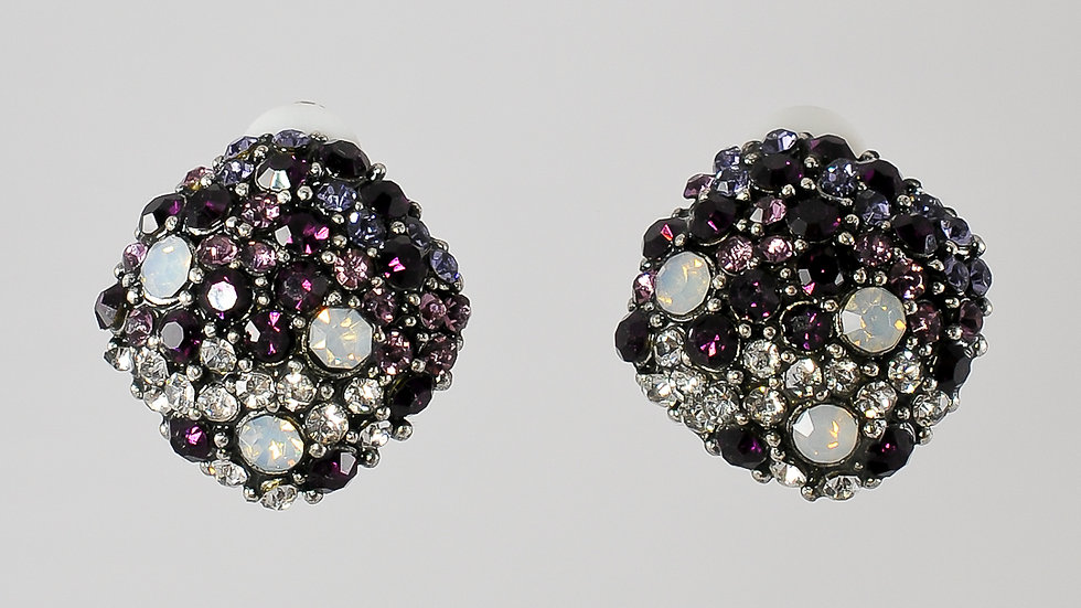 Hematite Jeweled Clip-on Earrings