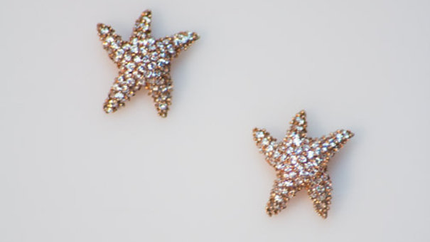 Rose/Silver Pave Starfish Studs 1