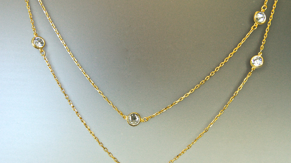 Gold Plated Chain With Crystals hanging