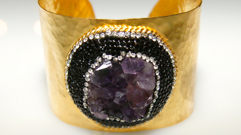 Druzy Gold Cuff with Various Stones amethyst