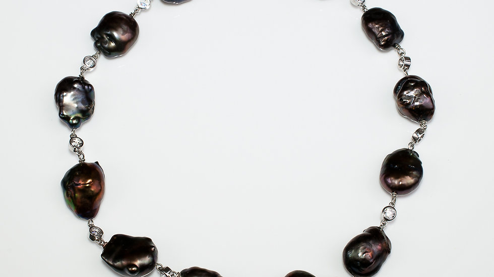 Black Baroque Pearl Necklace full