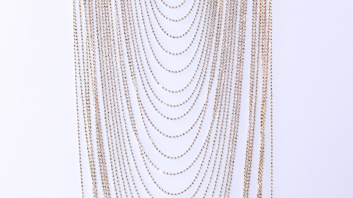 Long Silver Multi-chain Necklace 1