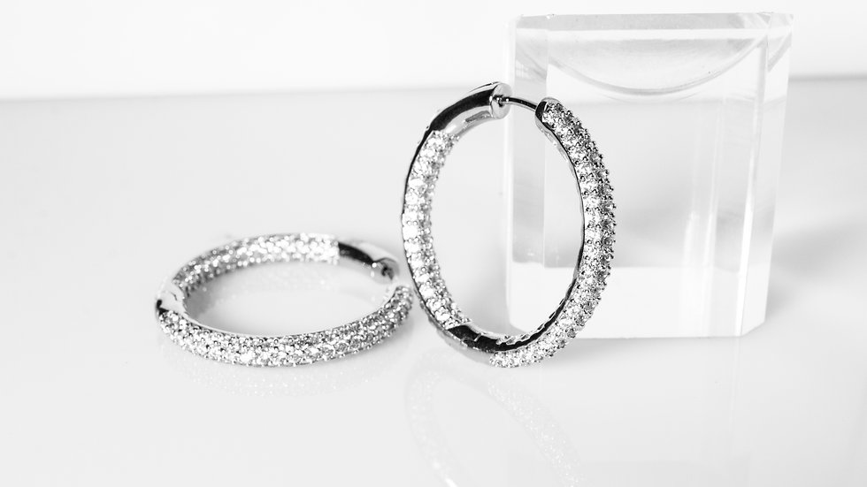 Micro Pave Diamonesque Silver Hoop Earrings
