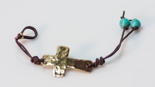 Leather Bracelet With Golden Cross And Turquoise Beads open