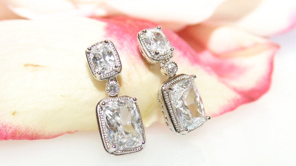 Square Cubic Zirconia Post/Drop Earrings