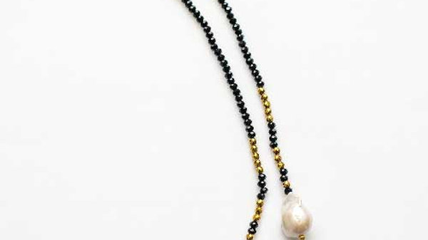 2 Pearl Black & Gold Lariat