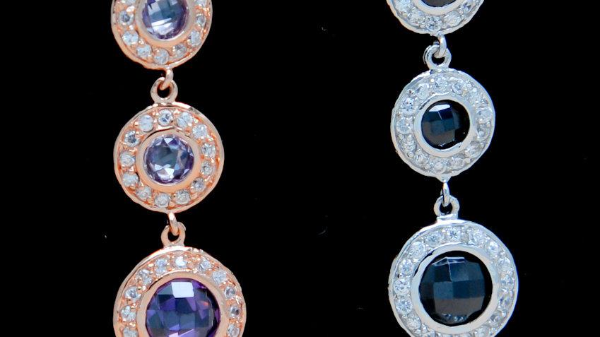 Amethyst Rose Gold 5 Circle Drop Earrings 2 colors