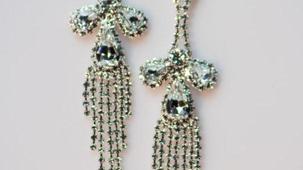 Long Silver Crystal Earring