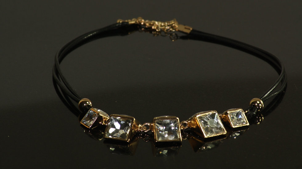 Gold/Crystal Square Drop Necklace