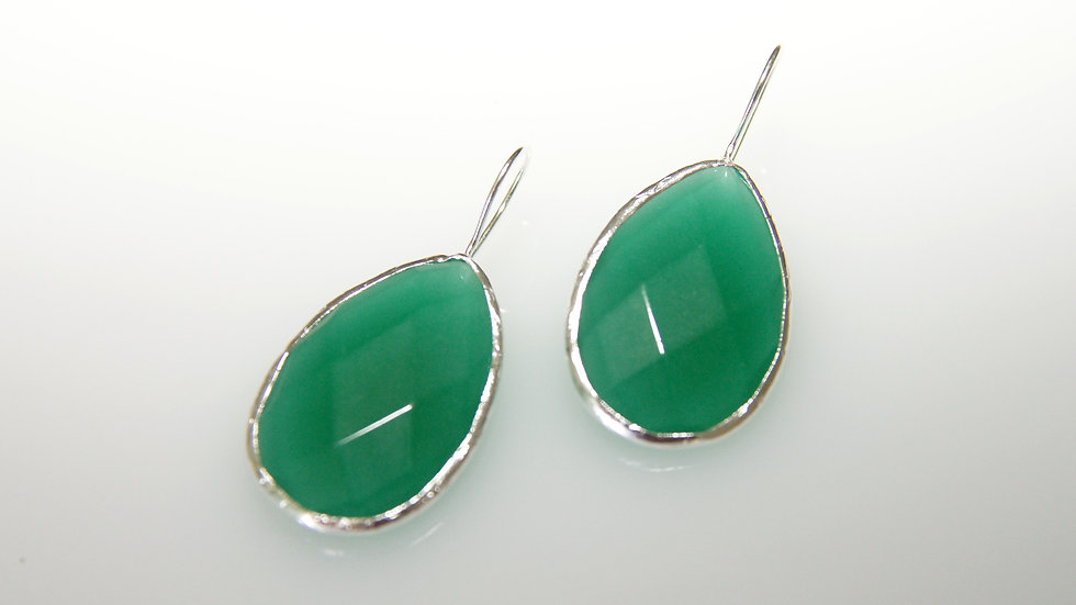 Emerald with Sterling Silver Earrings