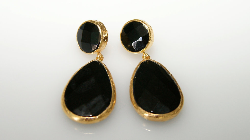 Black Onyx Earrings with Post